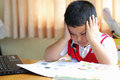 The boy work homework carefully Royalty Free Stock Photos
