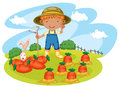 Boy working in farms illustration of a Royalty Free Stock Photography
