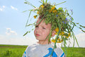 Boy with wreath Stock Images