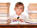 Boy writing Stock Photography
