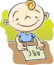 Boy Writing ABC Royalty Free Stock Photo