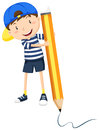 Boy writing with giant pencil Royalty Free Stock Photo