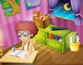A boy writing inside his room illustration of Royalty Free Stock Images