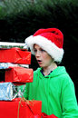 Boy with xmas presents Stock Photo