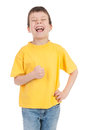 Boy in the yellow laughs Royalty Free Stock Photography