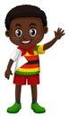 Boy in Zimbabwe costume waving hand