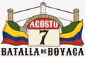 Boyaca`s Bridge, Calendar and Colombian Flags Commemorating Boyaca Battle Holiday, Vector Illustration