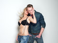 Boyfriend and girlfriend in sensual pose on white background portrait of a Royalty Free Stock Photo