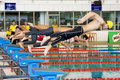 Boys 100 Meters Freestyle Swimming Action Royalty Free Stock Photo