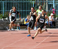 Boys on the 200 meters race Royalty Free Stock Photos