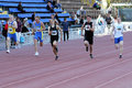 Boys on the 200 meters race Royalty Free Stock Images