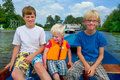 Boys in the boat Royalty Free Stock Photo