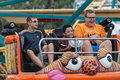 Boys on carnival ride at state fair des moines ia usa august unidentified enjoy a thrill the iowa august in des moines iowa usa Stock Photography