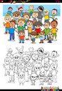 Boys characters group coloring book Royalty Free Stock Photo