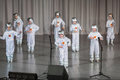 Boys in costumes of astronauts performs on stage moscow apr district competition crystal droplet april moscow russia Stock Images