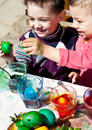 Boys fighting easter eggs Royalty Free Stock Photo