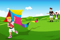 Boys flying kite with their dad a vector illustration of two in an open field Royalty Free Stock Photo