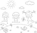 Boys and a girl playing in the meadow. Coloring book Royalty Free Stock Photo