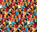 Boys, Girls in Colorful Clothes Pattern Royalty Free Stock Photo