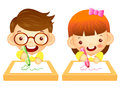 Boys and girls draws a picture with crayons education and life character design series Royalty Free Stock Images