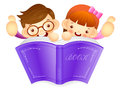 Boys and girls are holding a big book education and life charac character design series Stock Photography