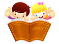 Boys and girls are holding a big book education and life charac character design series Royalty Free Stock Photo
