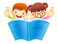 Boys and girls are holding a big book education and life charac character design series Stock Photo
