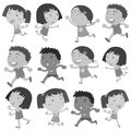 Boys and girls movements illustration of Stock Images