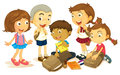 Boys and girls packing schoolbag Royalty Free Stock Photo