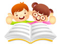 Boys and girls are reading a large book education and life char character design series Stock Photos
