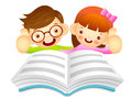 Boys and girls are reading a large book education and life char character design series Stock Photography