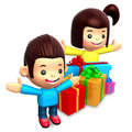 Boys and girls received many gifts Royalty Free Stock Images