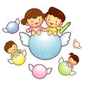 Boys and girls are riding a big ball flying in the sky educatio education life character design series Stock Photos