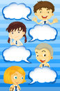 Boys and girls with speech bubbles
