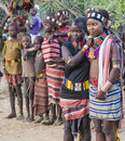 Boys and girls at the traditional evangaty ceremony. Turmi, Ethiopia. Royalty Free Stock Photo