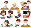 Boys and girls working on computer illustration Stock Photos