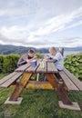 Boys having picnic meal Royalty Free Stock Photography