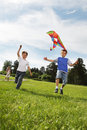 Boys with kite Stock Photo