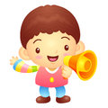 Boys mascot the hand is holding a loudspeaker korea traditional cultural character design series Stock Image