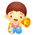 Boys mascot the hand is holding a loudspeaker korea traditional cultural character design series Stock Photography