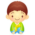 Boys mascot is a polite greeting korea traditional cultural cha character design series Stock Image