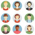 Boys and men faces icons in flat style showing different ages hairstyles clothing casual sport professional multiracial ethnicity Royalty Free Stock Photography