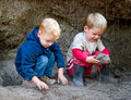 Boys playing with dirt Royalty Free Stock Photo