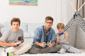 Boys playing video games Royalty Free Stock Photo