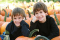Boys in the Pumpking Patch Royalty Free Stock Image