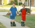 Boys Rollerblading Stock Image