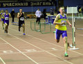 Boys run 400 meters race Stock Photography