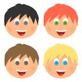 Boys set children`s faces with different hair color and eyes with a big smile with an open mouth with tongue and white teeth. Comb Royalty Free Stock Photo