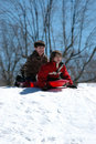 Boys sledding Royalty Free Stock Images