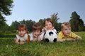 Boys with soccer ball Royalty Free Stock Photography